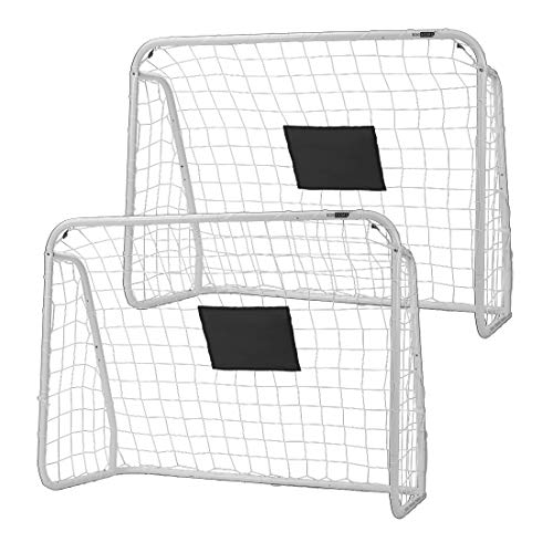 VIVOHOME 4 x 3 Feet Sports Soccer Hockey Goal Iron Frame for Backyard with All Weather Resistant Net for Kids Practicing Training and Shooting 2 Packs