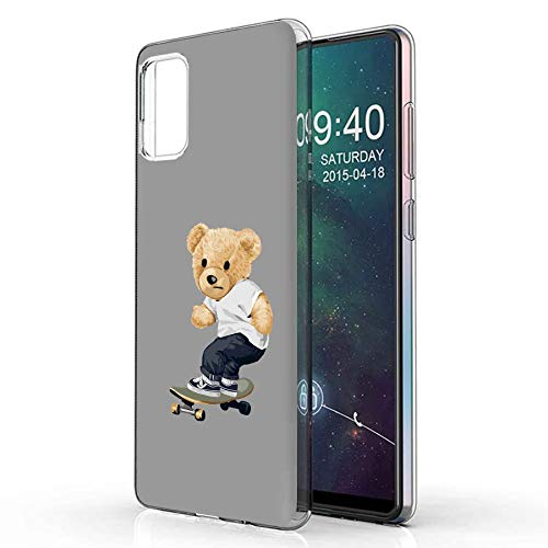 TalkingCase Clear TPU Phone Case for Samsung Galaxy A51 4G, Thrasher Teddy Bear Print, Light Weight, Ultra Flexible, Soft Touch, Anti-Scratch,Designed in USA