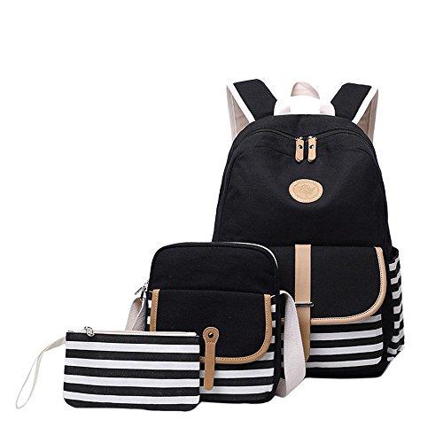 Mädchen Schulrucksack Umhängetasche und Geldbeutel 3 Tasche Set Große Kapazität Segeltuch Schultasche für Schule Outdoor Camping Ausflug(Schwarz)
