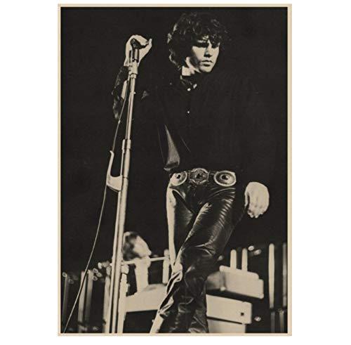 DNJKSA Die Türen Jim Morrison Vintage Retro Rockband Musik Gitarre Matte Druck auf Leinwand Kunst Poster Bilder Wohnzimmer Bilder Wohnkultur Einzigartiges Geschenk-20x30 IN No Frame