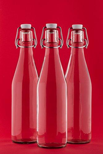 Bügelflasche Bügelverschlussflasche leere Glasflasche mit Bügelverschluss Weinflasche Schnapsflasche Essig Öl Glasflaschen von slkfactory- 4 x 1000ml, durchsichtig