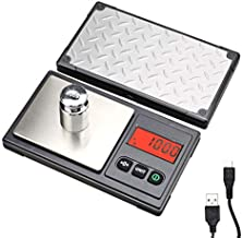 Gram Scale 220g / 0.01g, Digital Pocket Scale with 100g Calibration Weight,Mini Jewelry Scale, Kitchen Scale,6 Units Conversion, Tare & LCD Display, Auto Off, Rechargeable