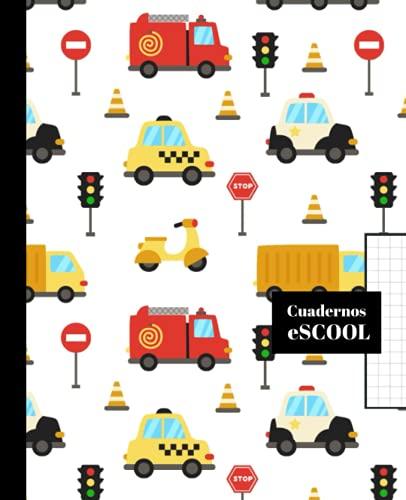 CUADERNO ESCOLAR: Cuaderno de hoja cuadriculada de 4 mm | Cuadrícula 4x4 | Tamaño especial para la mochila | 100 páginas | Papel de alta calidad | Diseño de portada de coches y camiones.