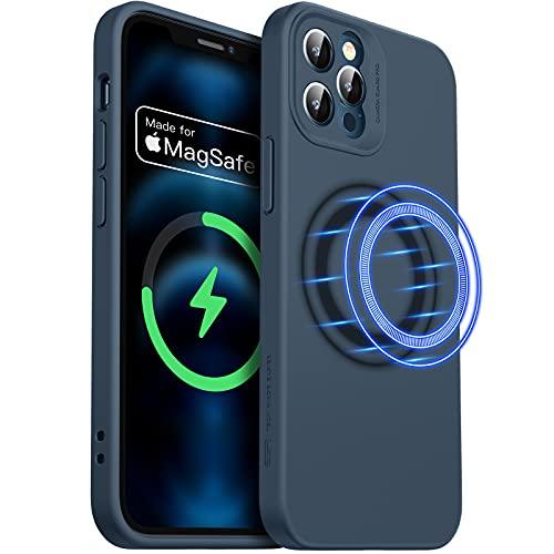 """ESR Funda MagSafe Compatible con iPhone 12 Pro MAX 6,7"""", MagSafe Certificación, Magnética Carcasa Híbrida de Silicona líquida, Protección de Cuerpo Completo, Azul Marino"""