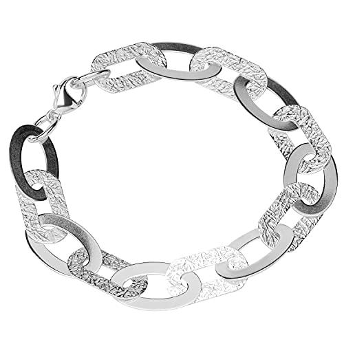 NKlaus Pulsera de plata de ley 925 de 22 cm con cadena Luna para mujer, cadena de ancla estampada 12828