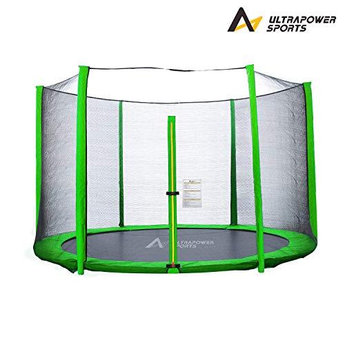 Trampolinzubehör Set für Trampolin 244 305 366 430 cm beinhaltet: 180cm Höhe Ersatznetz Sicherheitsnetz Trampolinnetz + PVC - UV beständige Federabdeckung Randabdeckung - Grün 305cm 8 Stangen
