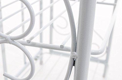 CLP Scaffale in Ferro Rosa in Stile Rustico - Scaffale a Muro Decorativo Stile Shabby Chic - Étagère con 3 Mensole Grigliate - Porta Fiori e Piante in Ferro per Soggiorno o Cucina Bianco