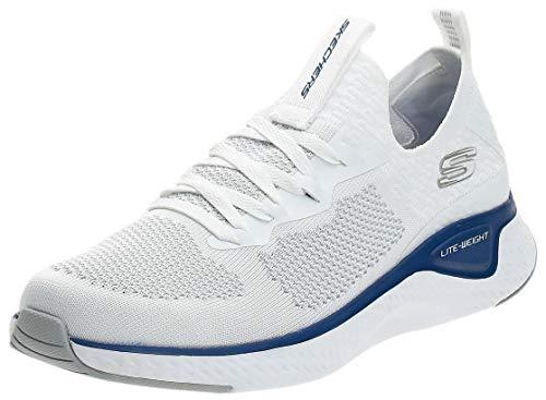 Skechers Solar Fuse, Zapatillas sin Cordones para Hombre, Azul (White Knit/PU/Blue Trim Wbl), 39.5 EU