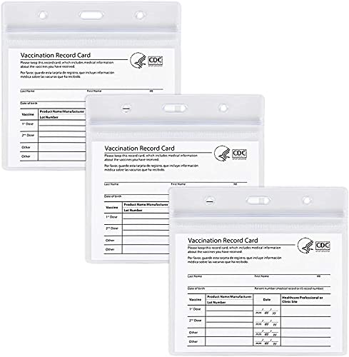 CDC Vaccination Card Protector, 3 Pack 4X3 in Immunization Record Vaccine Card Holder ,Horizontal Badge I'd Name Tags, Clear PVC Sleeve Waterproof Type Resealable Zip for Events Travel