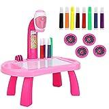 Tablero de dibujo Juego de pintura para proyector Juego de dibujo para proyector de mesa para niños con 4 discos de imágenes diferentes 8 bolígrafos de color Juguetes de educación temprana (Pink)