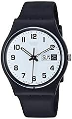 Round black watch with easy-to-read white dial featuring Arabic hour markers and date window at three o'clock 34 mm plastic case with plastic dial window Quartz movement with analog display Plastic band with buckle closure Water resistant to 30 m (99...