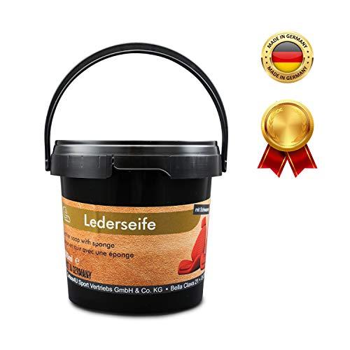 Equi-Deluxe Lederseife mit Schwamm für die Pflege von Autositzen, Taschen und weiteres Glattleder | Optimale Lederpflege und Lederreinigung 500ml