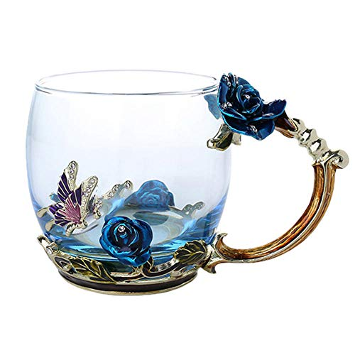 Taza de té de café esmaltada Tazas de vidrio de mariposa rosa 3D Regalo de boda-Azul corto Sin s