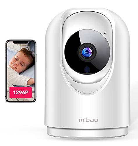 【Última versión 2021】 1296P Cámara de Vigilancia Interior, Cámara IP Mibao 3MP WiFi, Visión Nocturna, Detección Remota de Movimiento, Aviso de Aplicación, Audio Bidireccional, Trabajo con Alexa