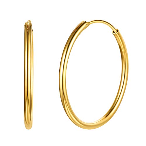Silvora 18K Gold Hoops Round Circle Lightweight Hoop Earrings Jewelry Birthday Gifts for Women Girls, 30 MM-Gift Packaging