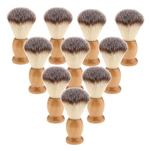 joyMerit Lote a Granel 10pcs Madera Hombres Barba Bigote Cepillo de Afeitar Kit de Herramientas
