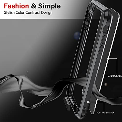 iPhone 6S Plus Case, iPhone 6 Plus Case with 2 Tempered Glass Screen Protector for Men Women, LeYi Clear Back Shockproof [Unique Buttons] Slim Protective Phone Cover Case for iPhone 6S Plus, Black