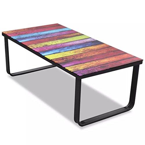 vidaXL Table Basse avec Impression d'arc-en-Ciel Dessus en Verre Meuble Salon