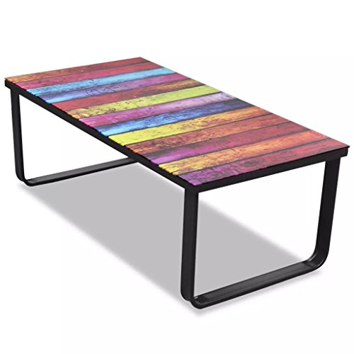 vidaXL Coffee Table with Rainbow Printing Glass Top Home Side End Tea Stand