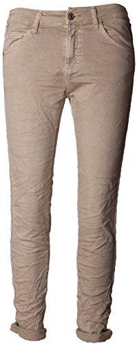 Basic.de Damen-Hose Skinny mit Kontraststreifen aus Metall-Perlen Melly & CO 8166 Beige XS