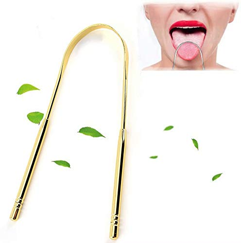 Big Bargain Store Stainless Steel Tongue Scraper Food Scraper for Helping to Eliminate Bad Breath 2PCS to Keep The Mouth Healthy and Clean Tongue Cleaning Brush Golden