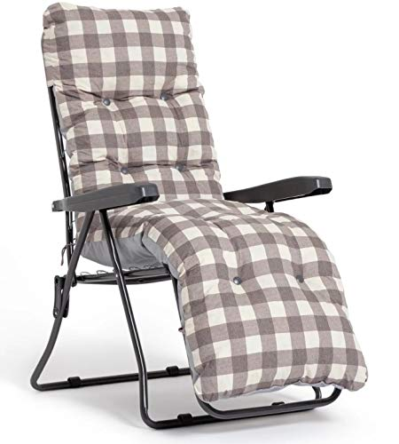 Sainsburys Padded Reclining Sun Lounger Cushioned Chair Set - Brown Check (Outdoor Garden Deck Chair)