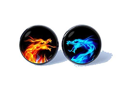 Bloody devil Abotoaduras personalizadas com imagem de dragões, abotoaduras de fogo e gelo, joias de dragão, presente de pai, dragão, fogo, dragão, fogo, abotoaduras geladas, presente de amor