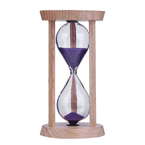 FUNRE Sanduhr-Sand-Timer 3 Minuten Holz Sand Timer Bürsten Timer-Küche-Werkzeuge Büro-Schule Dekorative (Color : Purple, Time : 3min)