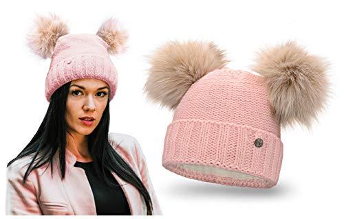 HEYO Damen Wintermütze mit Fleece Innenband Slouch Beanie Winter Mütze | Warme Strickmütze mit Zwei Bommeln | Bommelmütze mit Katzenohren (Rosa)