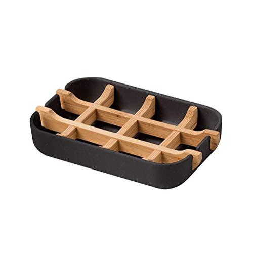 Jabonera de bambú (paquete de 1) en color negro – Jabonera de bambú natural resistente antimoho con materiales ecológicos – Jabonera de drenaje antibacteriana para jabón más duradero – Plato de jabón
