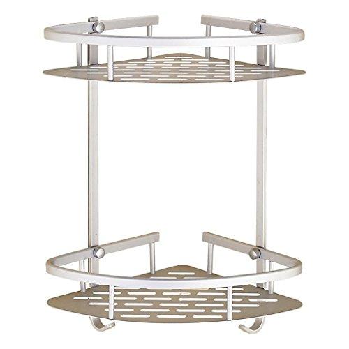 Étagères triangulaires de salle de bains de panier de double-plate-forme en aluminium d'espace de salle de bains avec le crochet, supports tout usage de salle de bains/support de stockage, fixé au m