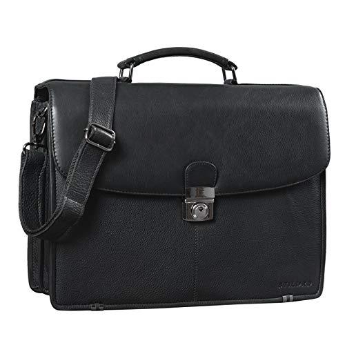 STILORD 'Miguel' Klassische Leder Aktentasche Schwarz Herren große Businesstasche Arbeit Bürotasche mit Schloss zum Umhängen 15,6 Zoll Laptoptasche, Farbe:Obsidian schwarz