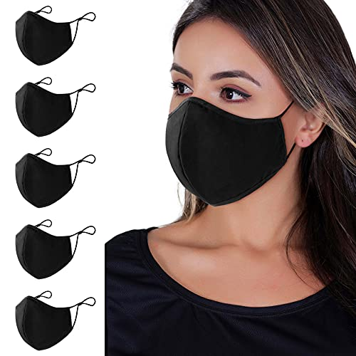 Face Mask , 5-Pack Unisex Cloth Washable Reusable Face Cover , Cotton Inner Layer Comfortable &...