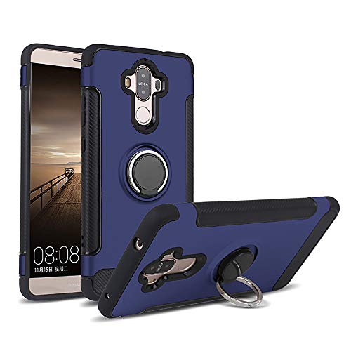 Compatible con Huawei Mate 9, funda giratoria 360 grados, carcasa rígida de policarbonato + silicona TPU suave, antigolpes, antiarañazos, antigolpes y antiarañazos. azul Talla única