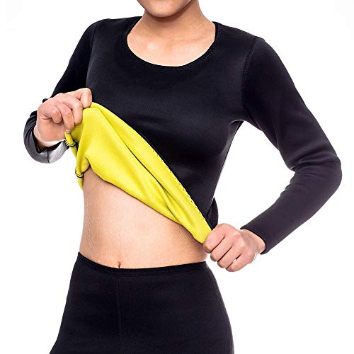 Dihope - Camiseta de compresión de neopreno para mujer, adelgazante, manga larga, para deporte, yoga, gimnasio, ejercicio, fitness, pérdida de peso