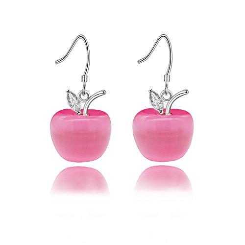 Uloveido Hot Pink Kristall Stein Apple Haken Ohrringe Tropfenohrring für Damen Mädchen Weißes Gold Überzogene Jewlery mit Zirkonia YL007-E