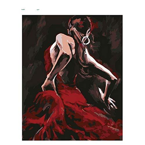GKOO Pintura por Número De Kit,DIY Pintura Al Óleo para Adultos Niños Vestido Rojo Bailarina Sombra Posterior Diseño Abstracto Patrón Vintage Fotos De Pared Art para El Hogar Dormitorio Salón Decor