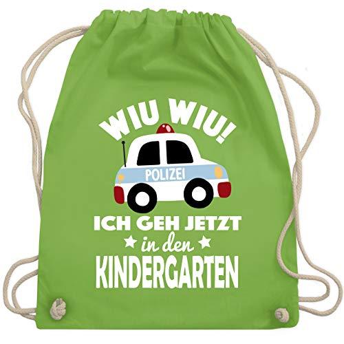 Shirtracer Kindergarten - Wiu Wiu Ich geh jetzt in den Kindergarten Polizeiauto - Unisize - Hellgrün - kindergarten turnbeutel - WM110 - Turnbeutel und Stoffbeutel aus Baumwolle