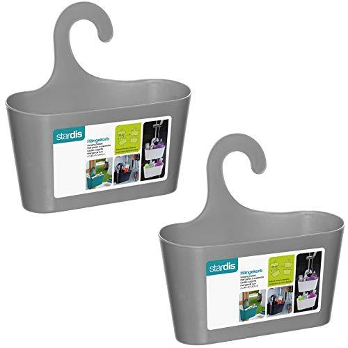 stardis 2er-Set Duschkorb zum Hängen - ohne Bohren - Duschablage aus Kunststoff Bad-Regal Duschregal Utensilo Aufbewahrungskorb, Farbe:Grau