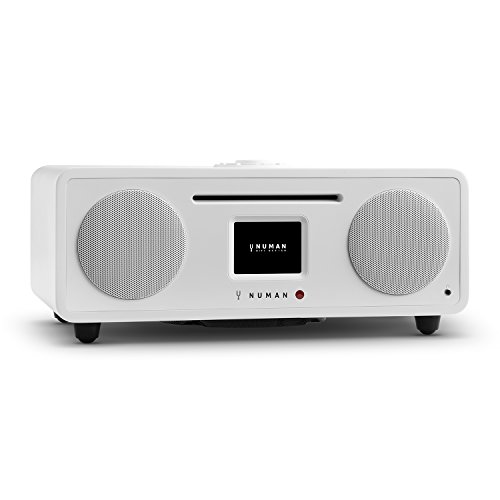 NUMAN Two 2.1, Design Internet Radio, DAB/DAB+ / UKW-Tuner, CD-Player, Spotify Connect, TFT-Display, Bluetooth, AUX, Subwoofer, 2 Equalizer, 30 Watt RMS-Leistung, Radiowecker, weiß