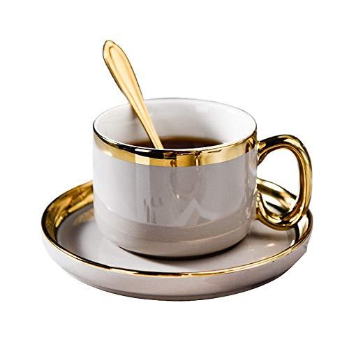 SXXYTCWL Tazas de café Hueso China Titani-chapado en oro RIM Taza de café platillo con cucharada Oficina Tarde Taza Taza Familia Restaurante Leche Taza Bebida Taza Taza de agua Taza de jugo 200ml (gri