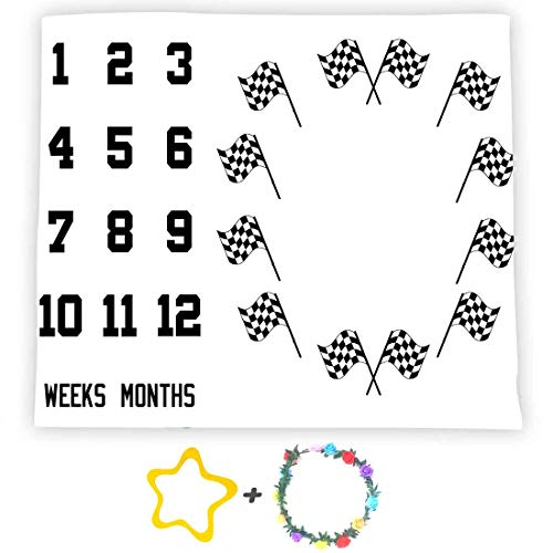F-FUN SOUL Lagre 48x40in Soft Cotton, Baby Milestone Blanket, Racing Flag Photography Backgrounds, Baby Shower Growth Tracker Props, Newborns Mom Gifts with 2 Bonus Marker DSFS130