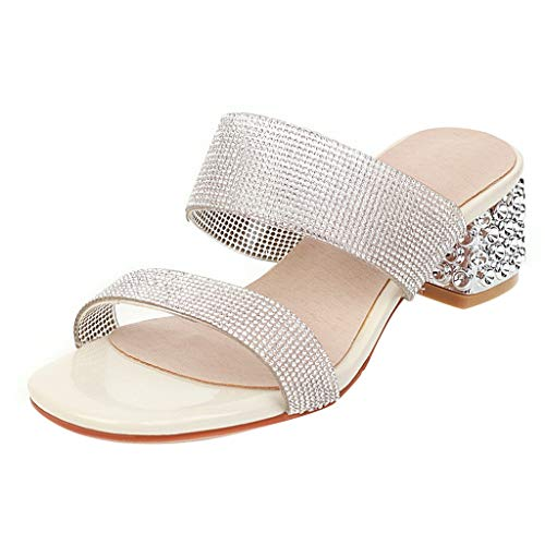 Best Deals! KANGMOON Women's Crystal Heels Mules Open Toe Chunky Mid Heel Strappy Slide Sandals Cont...