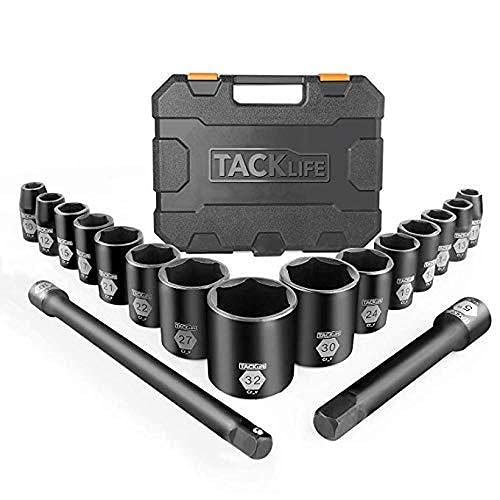 TACKLIFETOOLS 17 Pcs Socket Set, 1/2' Inch Drive Master Shallow Impact Socket Set with Metric Size 10mm-32mm, CR-V Steel & 6 Point Design, Perfect for Home, Mechanic and Repair Project - HIS3A