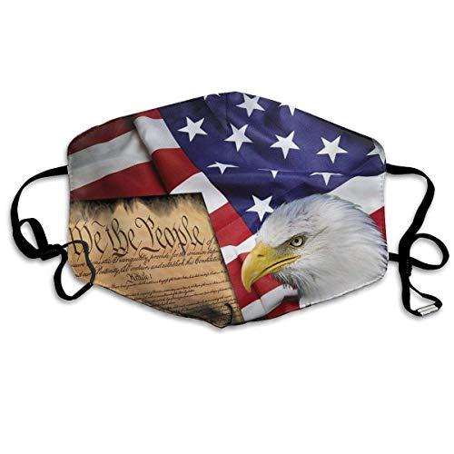 Multifunktionale Gesichtsschutzhülle,Amerikanische Flagge Patriotische Usa Weißkopfseeadler Und Buch Unisex Waschbar Wiederverwendbare Gesichtsdekorationen Für Den Persönlichen Schutz