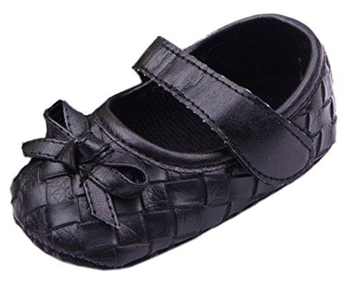 Bigood Chaussure Bébé Premier Pas Cadeau Naissance Carreau Nœud Papillon Noir Semelle 12cm