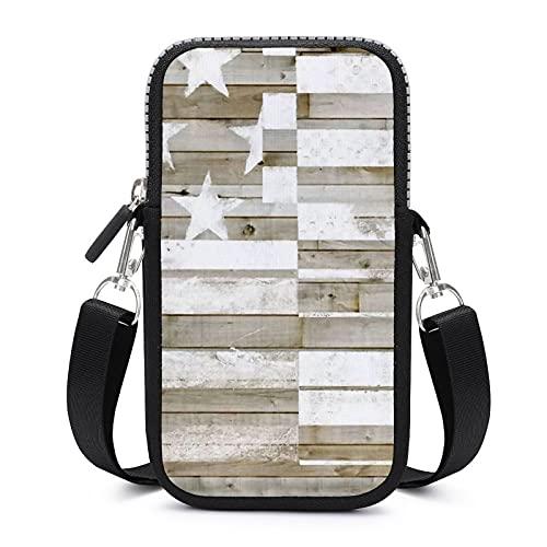 Bolso bandolera para teléfono móvil con correa de hombro extraíble, bandera, impermeable, para llaves, monedero, para exteriores, para mujer