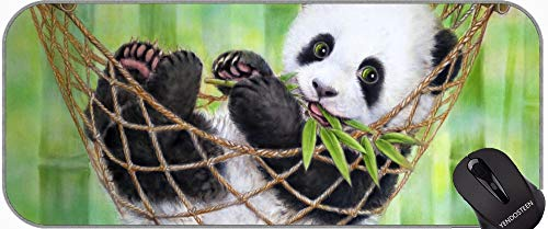 XXL Professional Large Mouse Pad, Pandas Baby Animal Hammock Giant Panda Art Professional Mousepad, Bordes cosidos