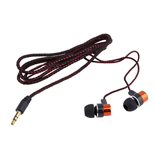 Ba30DEllylelly In-Ear-Subwoofer-Ohrhörer-Steckdose mit Kopfhörern Kopfhörer Geflochtene Verkabelung Universal-Ohrhörer