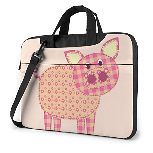 Cute Pig Patchwork Laptop Tote Bag Compatible With 13-15.6in Ultrabook Carrying Handbag With Strap,13 Inch
